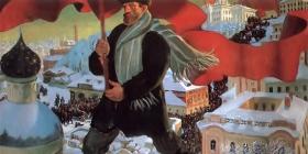 """Extrait du tableau """"Le Le Bolchevik """" de Boris Koustodiev, 1920, nouvelle galerie Trétiakov"""