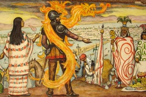Fresque murale mexicaine représentant la Malinche et Cortès