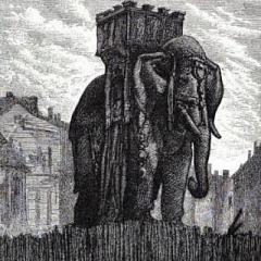 L'éléphant de la Bastille à partir d'une illistration de G. Brion via Wikimedia Commons