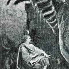 Jonas dans le ventre de la baleine a partir d'une illustration de E. Bayard