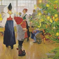 Enfant devant sapin de Noël par Carl Larsson via Wkimedia Commons
