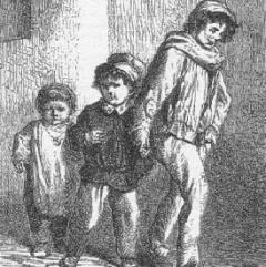 Gavroche et ses deux frères à partir d'une illustration de G. Brion via Pontauchange.com
