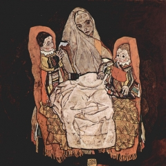 Mutter mit zwei Kindern par Egon Schiele via Wikimedia Commons
