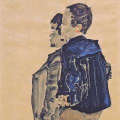 Rückenansicht zweier Knaben par Egon Schiele via Wikimedia Commons