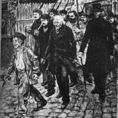 Gavroche allant à la rencontre de son destin à partir d'une illustration de P.G Jeanniot via Pontauchange.com