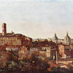 Le Forum vu depuis les jardins Farnese par Jean-Baptiste Corot via Wikimedia Commons
