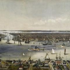 Vue du port de New York 1848 via Wikimedia Commons
