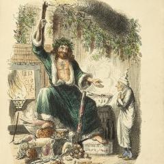 Scrooge et l'esprit de Noël présent de John Leech via Wikimedia Commons