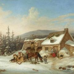 Habitants d'une ferme par Cornelius Krieghoff via Wikimedia Commons