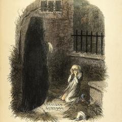 Scrooge et l'esprit de Noël à venir de John Leech via Wikimedia Commons