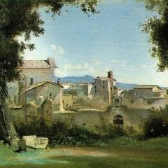 Vue depuis les jardins Farnese par Jean-Baptiste Corot via Wikimedia Commons
