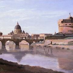 Vue de la Rome, pont, château Saint-Ange et coupole de la basilique Saint-Pierre par Jean-Baptiste Corot via Wikimedia Commons