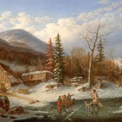 Paysage d'hiver par Cornelius Krieghoff via Wikimedia Commons