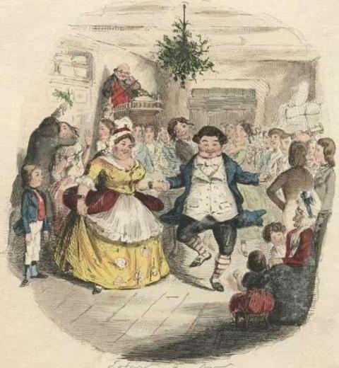 Illustration de couverture d'un conte de Noël à partir du dessin de John Leech pour l'édition originale via Wikimedia Commons