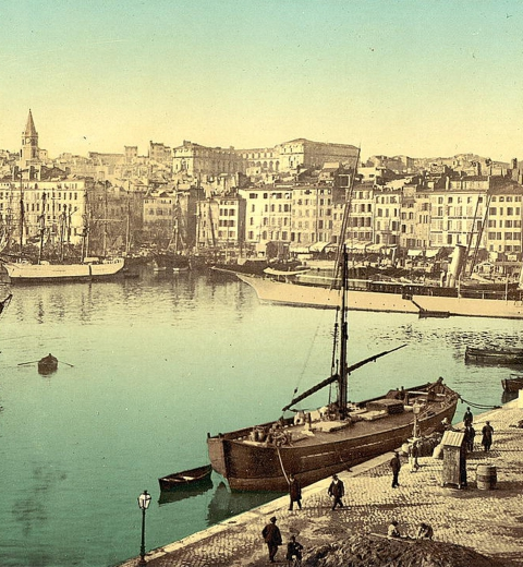 Old Harbor (Vieux-Port), Marseille, France, with Hôtel-Dieu Hospital in background], Library of Congress Prints and Photographs Division, via the Commons Flickr