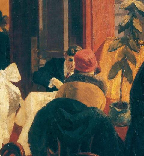 Illustration couverture à partir du tableau New York Restaurant d'Edward Hopper via Wikimedia Commons