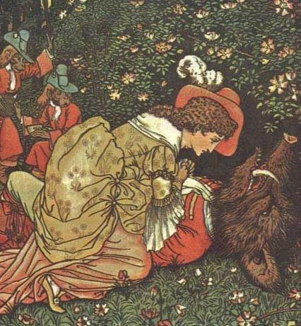 la Belle et la Bête, illustration par Walter Crane via Wikimedia Commons