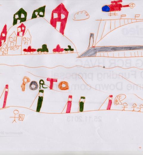 Porto dessiné par le jeune artiste de la famille